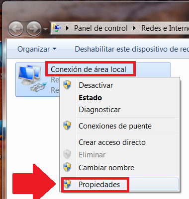 conexion de area local windows