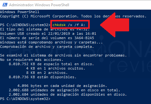 reparar usb dañado cmd windows